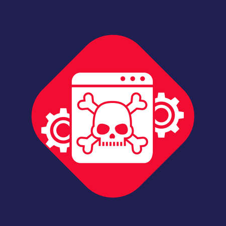 computer virus, malware attack icon with skull and bones