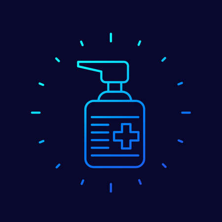 antiseptic, alcohol gel line vector icon