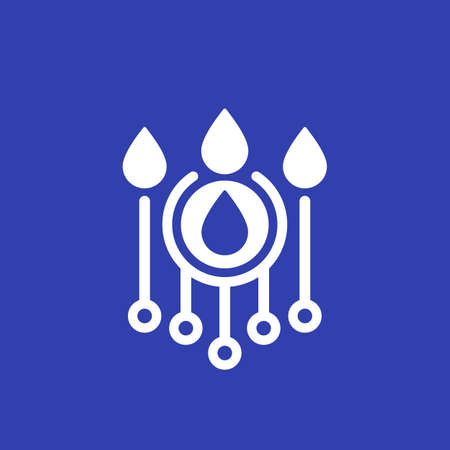 irrigation icon with water drops, vector