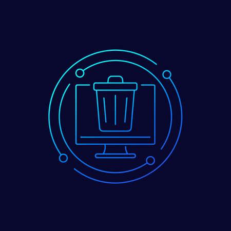 Trash bin, deleted files line icon