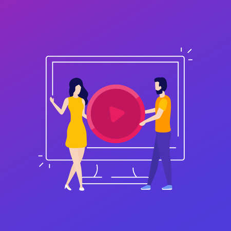 play video content vector illustration