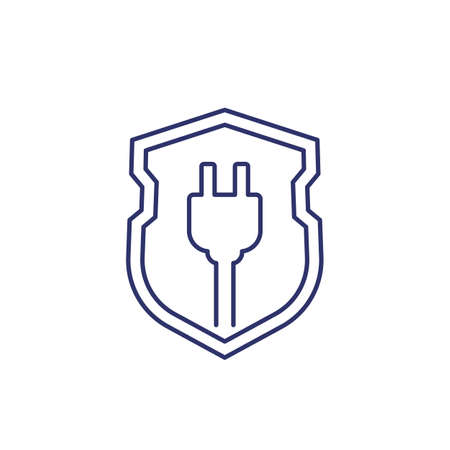 electric plug and shield line icon Illustration