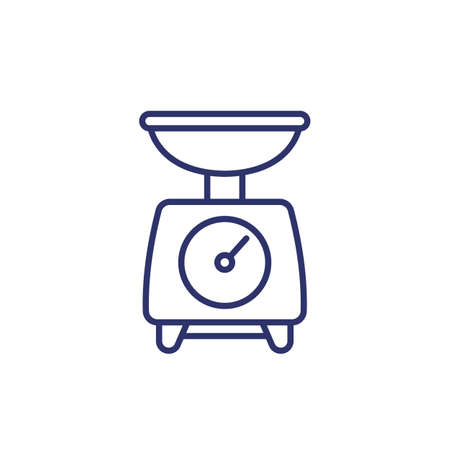 food scales line icon on white