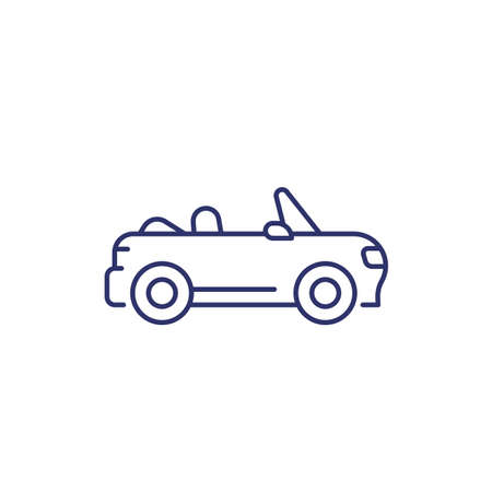 cabriolet line icon on white Illustration