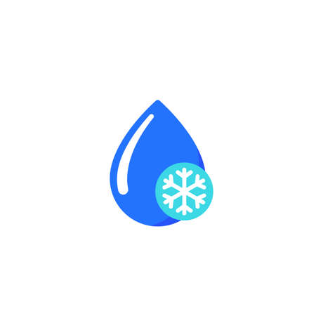 drop with snowflake, frozen water icon on white