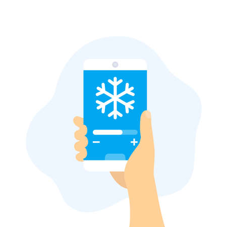 cooling control app, smartphone in hand, vector