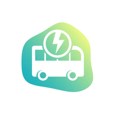 electric bus icon, green transport vector