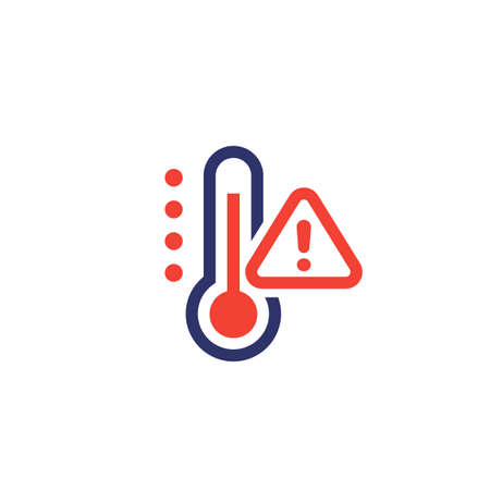 high temperature warning icon on white Illustration