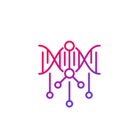 dna modification line icon on white Illustration