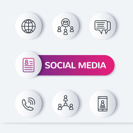 social media, people line icons