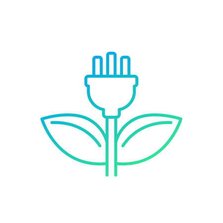 electric plug and green leaves line icon