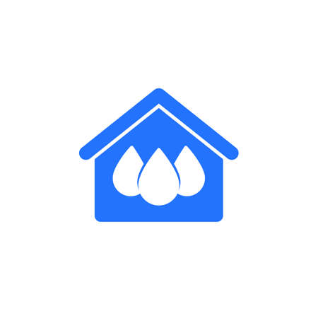 house and water icon on white Illustration