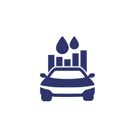 fuel consumption icon with car