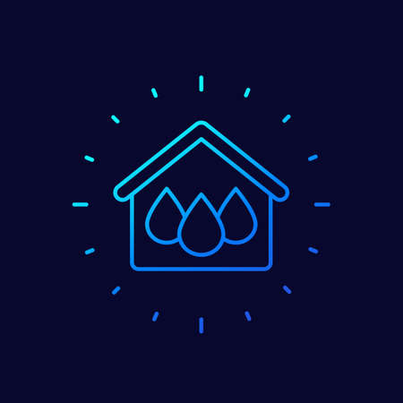 house and water line vector icon