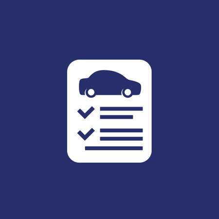 car insurance contract white icon