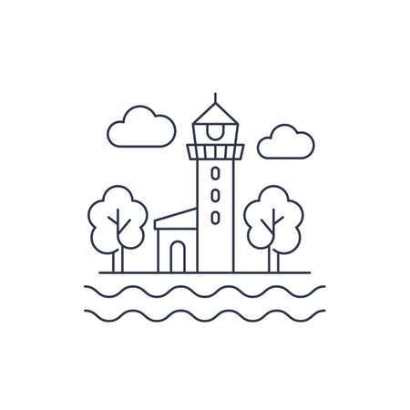 lighthouse line icon on white