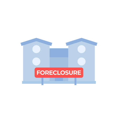 foreclosure vector icon with house and sign