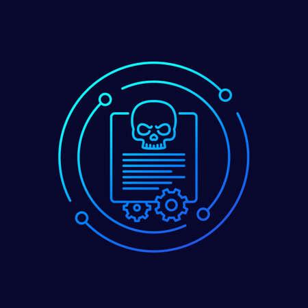 malware, cyber attack line vector icon