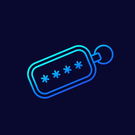 security token line icon for web