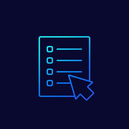 online survey icon, linear vector