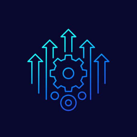 efficiency, efficient process line icon, vector Vektoros illusztráció