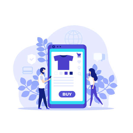 online shopping, E-commerce, buy online with mobile app, vector illustration with people Vettoriali