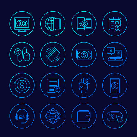 Payments, online banking and money linear icons set