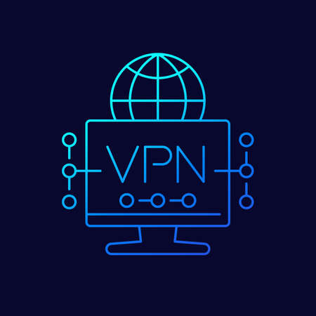 VPN line icon for web, vector