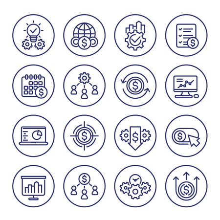 finance and business line icons set on white Ilustración de vector