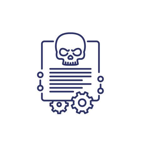 malware, cyber attack line icon