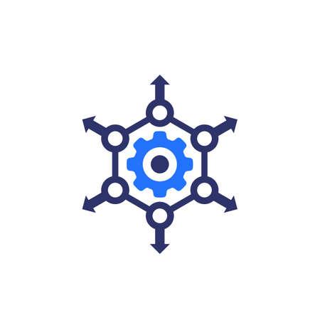 distribution process icon on white