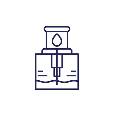 water borehole line icon on white