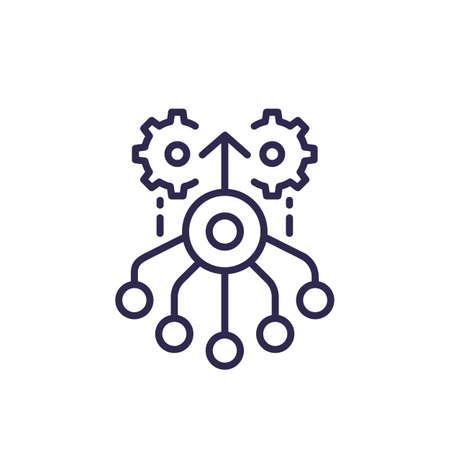 combined effort line icon, vector