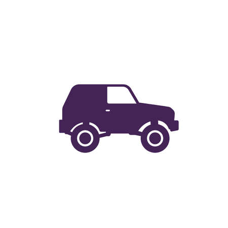 off-road car, 4wd suv icon on white