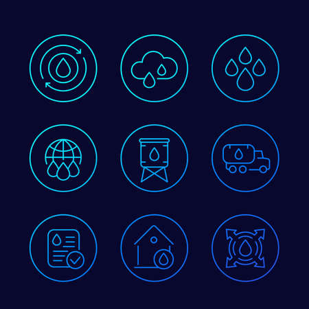 water supply, resources linear vector icons set