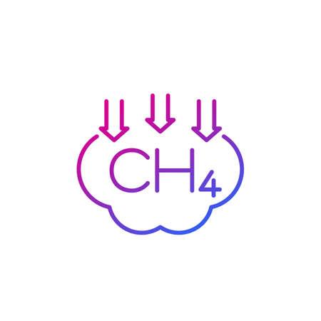 methane emissions reduction, CH4 gas line icon