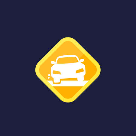 pothole icon with a car, vector sign