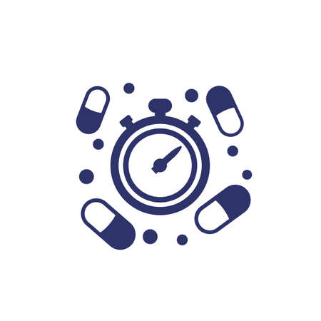 medication time icon with pills Vector Illustratie
