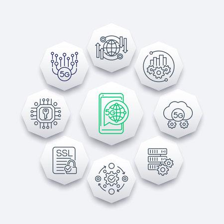 5G network technology line icons, vector design Vektorové ilustrace