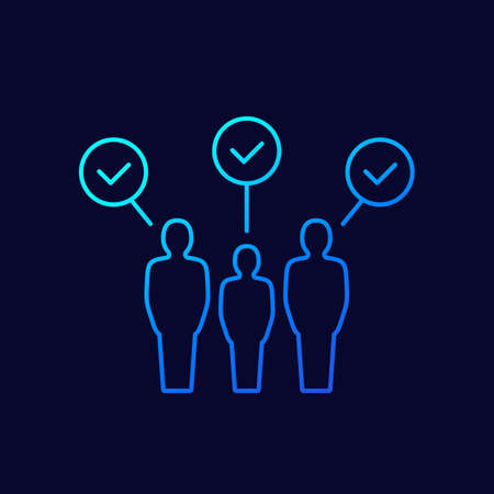 HR, people with check marks line icon, vector Vetores