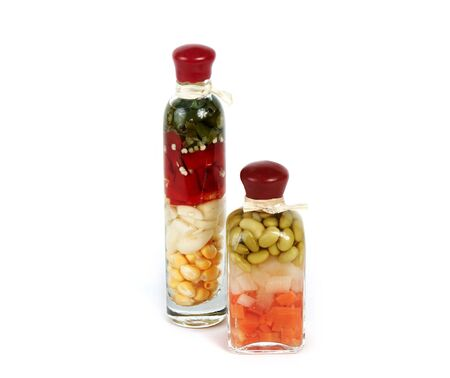 glass bottle with vegetables photo