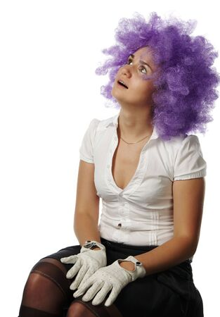 The ridiculous girl the clown with lilac hair photo