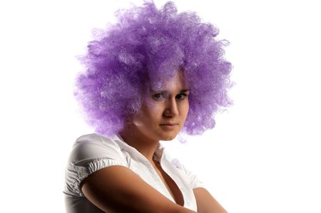 The ridiculous girl the clown with lilac hair Stock Photo - 5917403