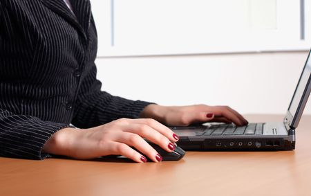 hand with black keyboard press the buttons Stock Photo - 6046055