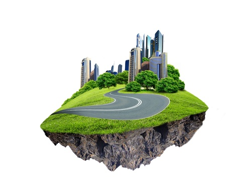 rural road: Image of a modern city surrounded by nature landscape