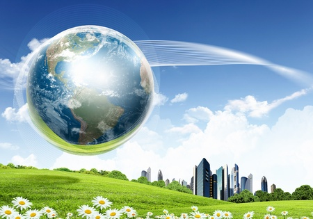 environmental concept: collage of green nature landscape with planet Earth above it
