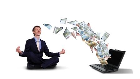 money flying: Joven empresario con billetes a su alrededor Foto de archivo