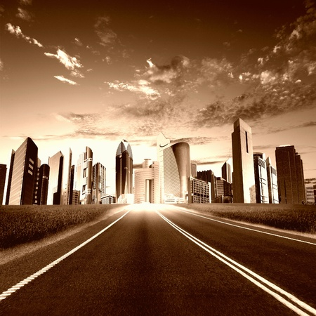 road scraper: Image of a modern city and road  leading to it
