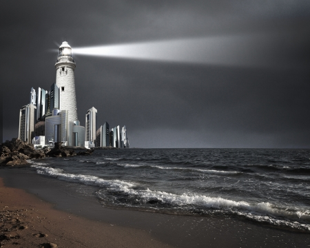 Image of a lighthouse with a strong beam of light Stock Photo - 11794002
