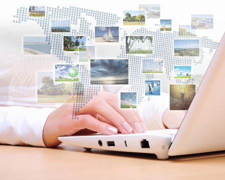 screen type: Collage with white laptop computers and symbols of communication